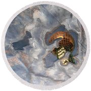 Puddle Of Sunsphere Round Beach Towel