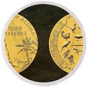 Pueblo Of Acoma Tribe Code Talkers Bronze Medal Art Round Beach Towel