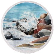 Puerto Vallarta Rocks Round Beach Towel