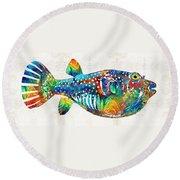 Puffer Fish Art - Blow Puff - By Sharon Cummings Round Beach Towel