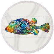 Puffer Fish Art - Puff Love - By Sharon Cummings Round Beach Towel