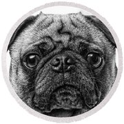 Pug Dog Black And White Round Beach Towel