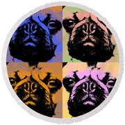 Pug Pop Art Round Beach Towel