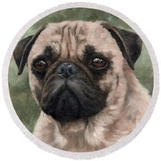 Pug Portrait Painting Round Beach Towel