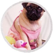 Pug Puppy Bath Time Round Beach Towel