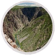 Pulpit Rock Overlook Black Canyon Of The Gunnison Round Beach Towel