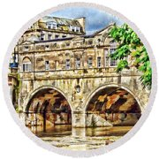 Pulteney Bridge Bath Round Beach Towel