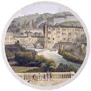 Pulteney Bridge, From Bath Illustrated Round Beach Towel