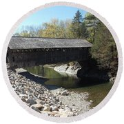 Pumping Station Covered Bridge Round Beach Towel