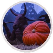 Pumpkin And Minotaur Round Beach Towel