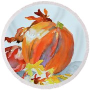 Round Beach Towel featuring the painting Pumpkin And Pomegranate by Beverley Harper Tinsley