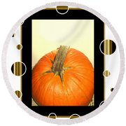 Pumpkin Card Round Beach Towel