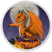 Pumpkin Dragon Round Beach Towel