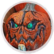 Pumpkin Face Round Beach Towel