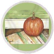 Pumpkin On A Rag Rug Round Beach Towel