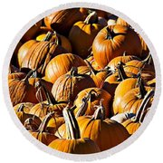 Round Beach Towel featuring the photograph Pumpkin Patch  by Aaron Berg