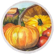 Pumpkin Pickin Round Beach Towel by Carol Wisniewski