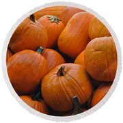 Round Beach Towel featuring the photograph Pumpkin Pile by Tikvah's Hope