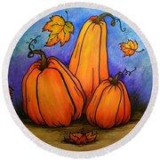 Pumpkin Trio Round Beach Towel