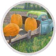 Pumpkin Truck Round Beach Towel