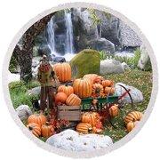 Pumpkin Waterfall Round Beach Towel
