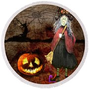 Pumpkinella The Magical Good Witch And Her Magical Cat Round Beach Towel by Colleen Taylor