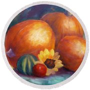 Pumpkins And Flowers Round Beach Towel