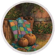 Pumpkins And Patches Round Beach Towel
