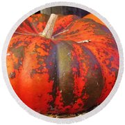 Round Beach Towel featuring the photograph Pumpkins by Cynthia Guinn