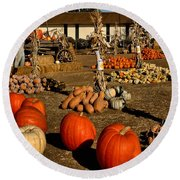 Round Beach Towel featuring the photograph Pumpkins by Michael Gordon