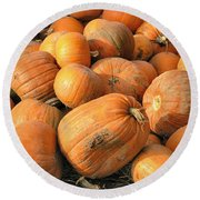 Pumpkins Round Beach Towel by Ron Harpham
