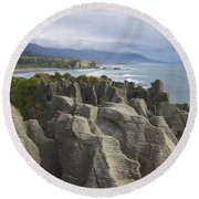 Round Beach Towel featuring the photograph Punakaiki Pancake Rocks by Stuart Litoff
