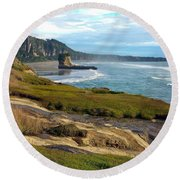 Round Beach Towel featuring the photograph Punakaiki Truman Track by Stuart Litoff