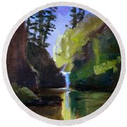 Punch Bowl Falls Round Beach Towel