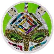 Round Beach Towel featuring the tapestry - textile Punda Milia by Apanaki Temitayo M