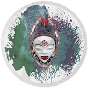 Punu Mask - Maiden Spirit Mukudji Round Beach Towel
