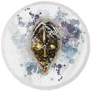 Punu Prosperity Mask Round Beach Towel