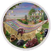 Puppies And Butterflies Round Beach Towel