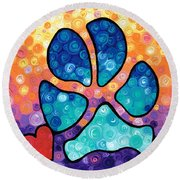 Puppy Love - Colorful Dog Paw Art By Sharon Cummings Round Beach Towel