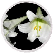 Pure White Easter Lilies Round Beach Towel by Rose Santuci-Sofranko