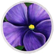 Round Beach Towel featuring the painting Purple African Violet by Barbara Griffin