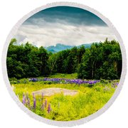 Purple And Mountains And Majesty Round Beach Towel
