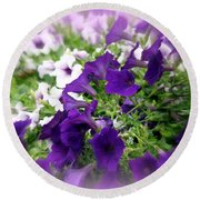 Round Beach Towel featuring the photograph Purple And White Petunias by Donna Walsh