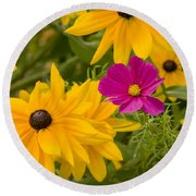 Purple And Yellow Flowers Round Beach Towel