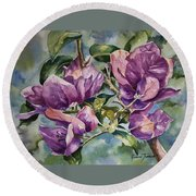 Purple Beauties - Bougainvillea Round Beach Towel