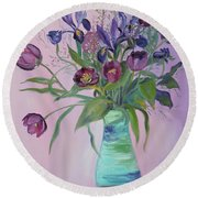 Purple Belle Bouquet  Tulips And Irises Round Beach Towel