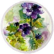 Purple Blue Anemones - Flowers Watercolor Round Beach Towel
