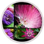 Purple Bouquet Round Beach Towel by Melinda Ledsome