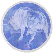 Purple Bull Negative Round Beach Towel