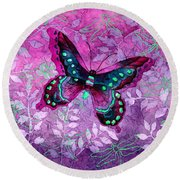 Purple Butterfly Round Beach Towel